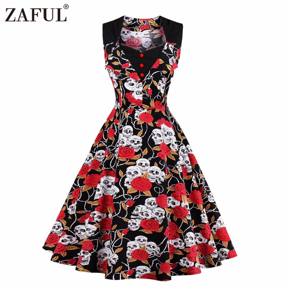 ZAFUL Women Summer Dress 2017 Floral Retro Vintage 50s 60s Casual Party Robe Rockabilly skull Dresses Plus Size Vestidos mujer(China (Mainland))