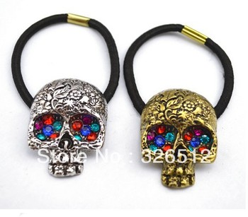 Vintage Style Bronze/Silver Alloy Colorful Rhinestone Eye Carving Skull Hair Band  12Pieces/Lot Mix Color