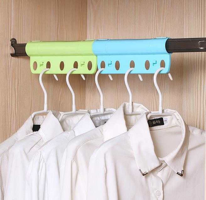 5 Holes For Hanging Clothes Creative Hanger Lock Anti Wind Anti Slip Hanger Rack With Fasten Buckle Pipe Shape(China (Mainland))