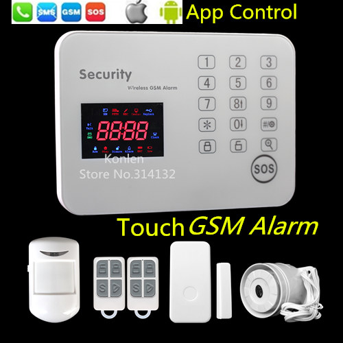 Wireless home burglar SMS Call gsm alarm system alarme casa maison home security anti thieft with Voice LCD android ios app(Hong Kong)