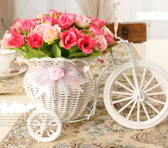 2014 hot rattan tricycle vase artificial silk set home decor table dinning room gift wedding decoration Display Flower - Desun Home Decor store