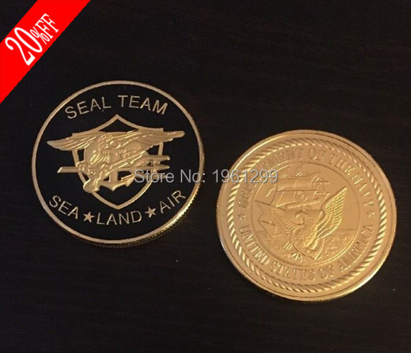 Sample order! 1pcs/lot Sea Land Air Challenge Coins Seal Team Department Of The Navy United States Metal coin free shiping(China (Mainland))
