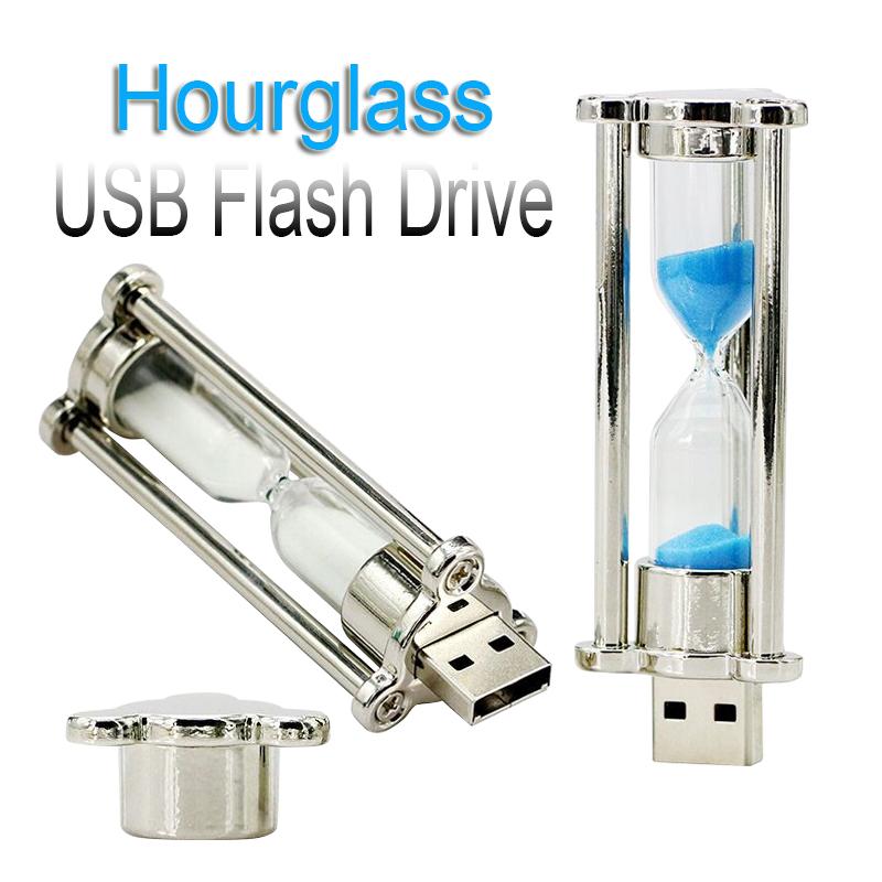 Hourglass sand USB Flash Drive 64GB 32GB 16GB 8GB U Disk Watch USB2.0 Flash Drive Containers pen drive memory time stick(China (Mainland))