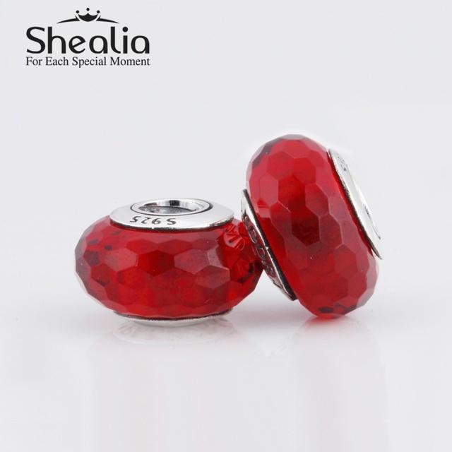 2015 новый стерлингового серебра 925 увлекательный красный грановитая муранского стекла бусины подходит известный бренд diy шарм браслеты Ht182