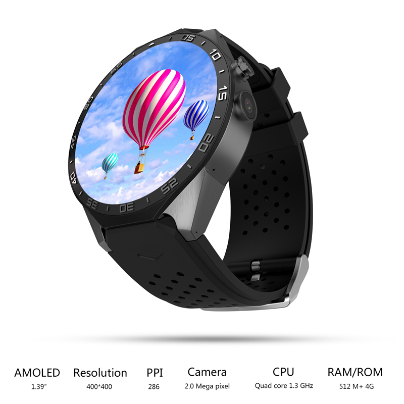 KINGWEAR KW88 Smart Watch 1.39 Inch MTK6580 Quad Core 1.3GHZ Android 5.1 3G Smart Watch 400mAh 5.0 Mega Pixel Heart Rate Monitor(China (Mainland))