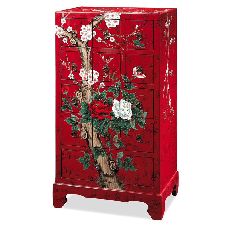 New Korean Chinese Garden Furniture Painted Red Peony