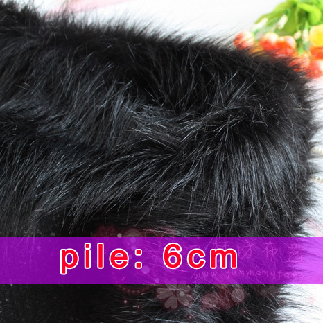"Black Solid Shaggy Faux Fur Fabric long Pile fur Costumes Cosplay Backdrops 60"" wide Sold By The Yard Free Shipping(China (Mainland))"