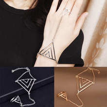 Fashion Of Finger Bracelets Rock Golden Triangle Hand Chain Women New Multi Chain Punk style Harness Finger Bangles For Women(China (Mainland))