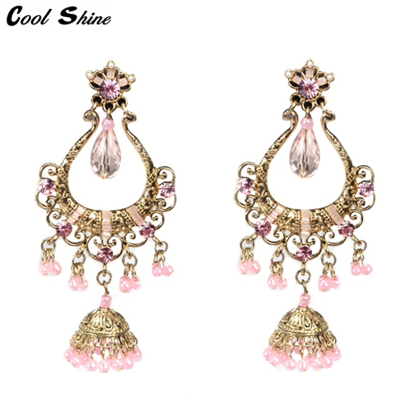 2016 new Plated Chandelier Charms Filigree tassel Beads Drop Dangle Earrings Gorgeous Party Jewelry For Womens from india(China (Mainland))