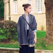 Islamic silk brand luxury bandana hijab muslim designer scarves Lovers houndstooth Double shawl sanjiaojin Warm scarf 200*65cm(China (Mainland))