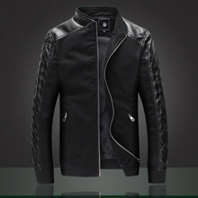 2015 New Brand Men Jacket Fashion Slim Fit Spliced Cotton PU Leather Coats High Quality jaqueta masculina Khaki Black Navy(China (Mainland))