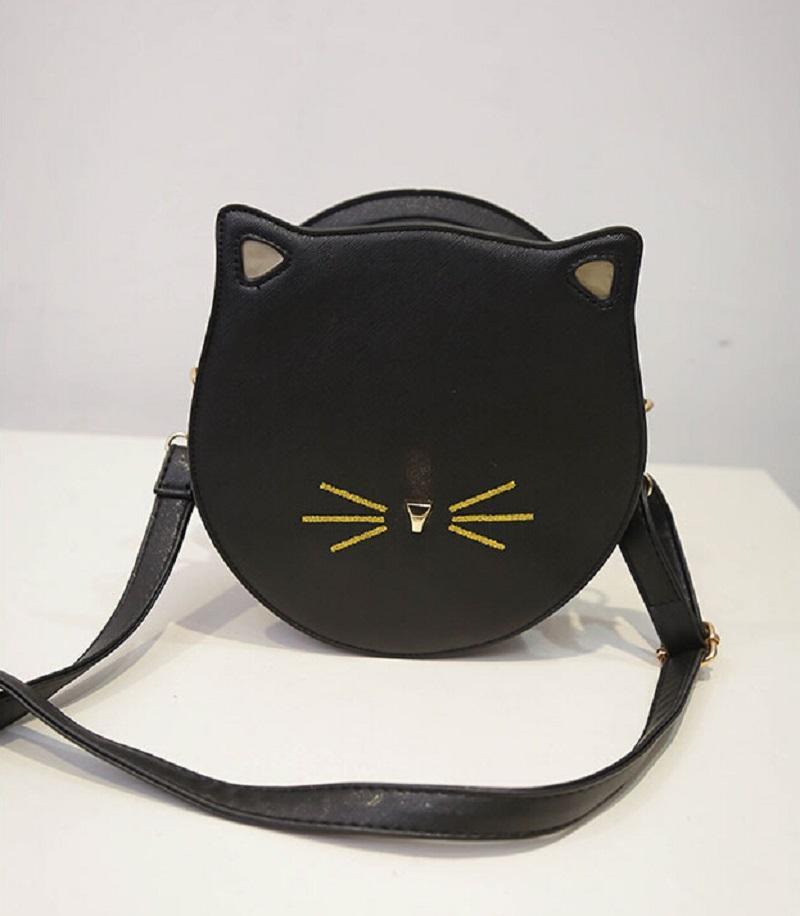 Cat small bag 2016 winter small round bag embroidery fashion women handbag color block messenger bags(China (Mainland))