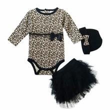 3-24m leopard Three-piece (romper tutu dress hat or headband) 1 year birthday dress long sleeve newborn baby girl dress(China (Mainland))