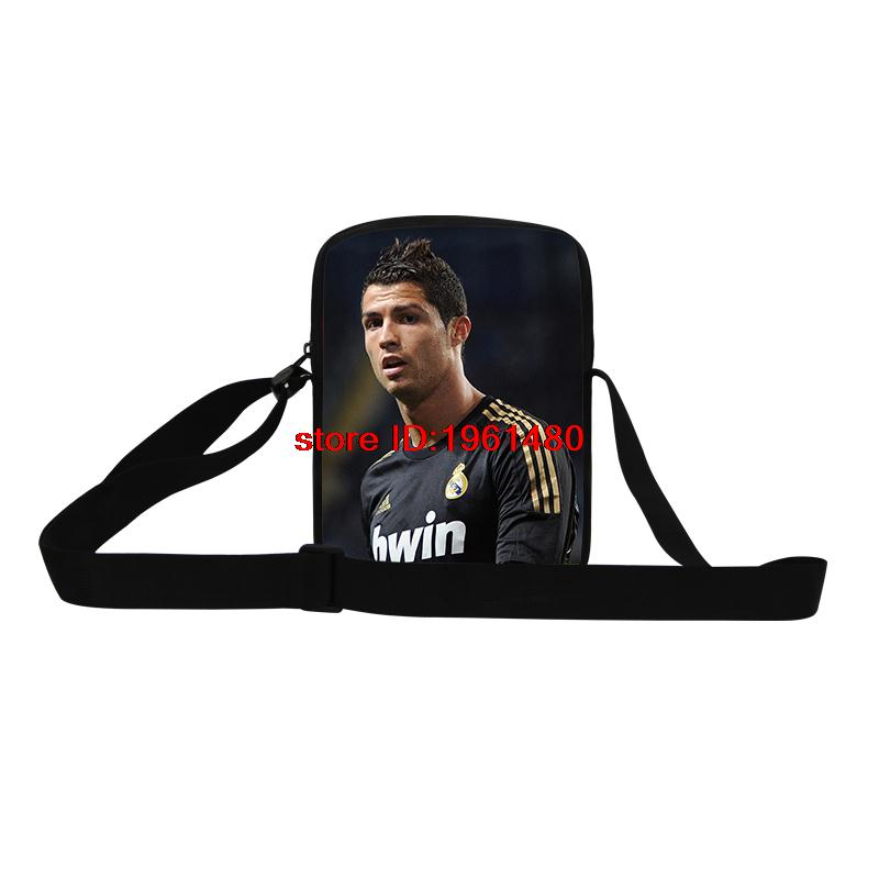 3D printing football star Cristiano Ronaldo messenger bags cool Neymar soccer mini messenger bag for men fashion shopping bags(China (Mainland))