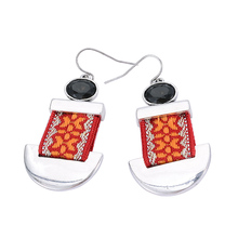 (HuiMei) Hot Fashion New Ethnic Earrings for Women Colorful Cotton Ribbon Exaggerated Crystal Pendants Drop Earrings Bijoux(China (Mainland))