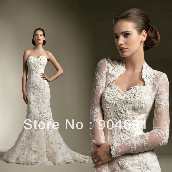 3 4 sleeves bolero jacket bridal wedding dress mermaid for Plus size mermaid wedding dresses with sleeves