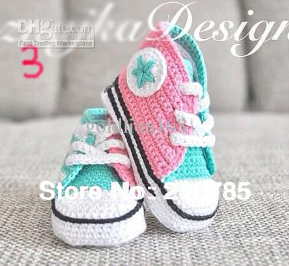 , Crochet baby handmade Sports shoes knit infant booties 100% cotton 0-12M Photo props - Mary shop store