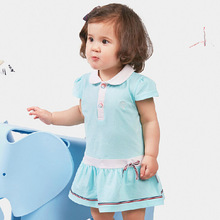 2015 Hot Sell Fashion Dress Baby Girl Cute Denim Princess Dresses Kids Casual Clothing Summer Short Sleeve Solid Child Vestidos(China (Mainland))