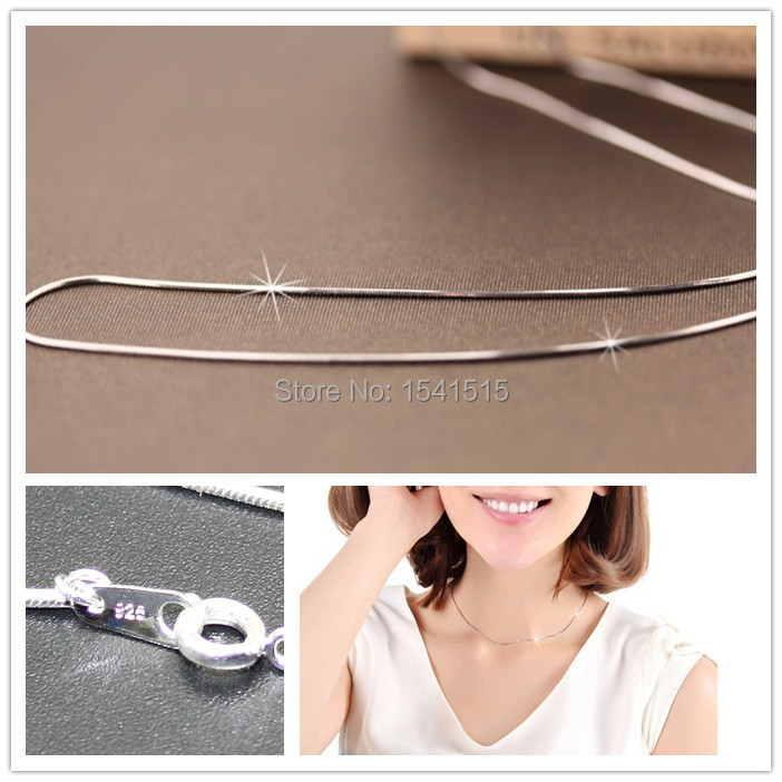 """5pcs 16"""" 40mm 925 Sterling Silver Round Snake Chain Necklaces Chains Jewellery Making(China (Mainland))"""