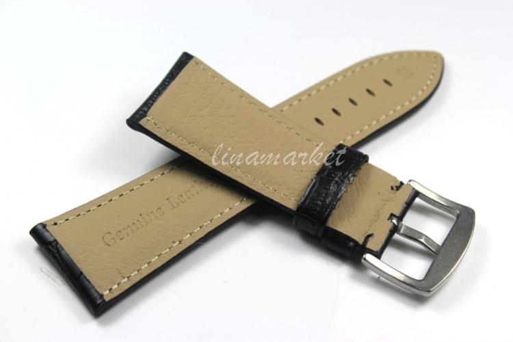 22mm (Buckle 20mm) Top-Grade High Quality Black Genuine Leather Watch bands Strap TG108a<br><br>Aliexpress
