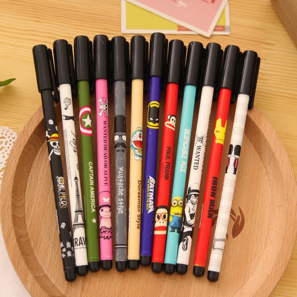12Pcs/pack New Korea Stationery Cute Cartoon Printing Diamond Head Gel Pen Creative Black Water Pen H0211