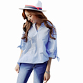 New Summer Striped Blouse Shirt Women Korean Casual Light Blue V Neck Half Sleeve Cheap Clothes