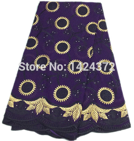 Free shipping by DHL China supplier New arrival cotton african swiss voile lace purple high quality with stones for dress(China (Mainland))