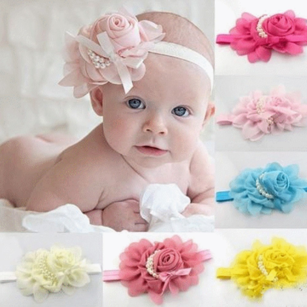 Flowers 15cm Fashion Baby Girl Headband 1pcs Rose Pearl Newborn Headband Baby Girls Infant Headband Hair Accessories 2366(China (Mainland))