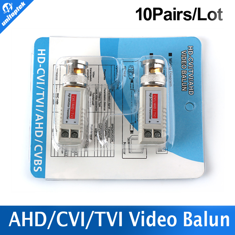 10Pairs Twisted BNC CCTV Video Balun Passive Transceiver Cat5 CCTV UTP 200M Range For HD 720P HDCVI/AHD/HDTVI Camera(China (Mainland))