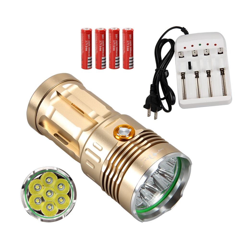 SKYRAY 9500 Lumen 7x CREE XM-L XML U2 LED Flashlight Torch Light Gold Lantern Led Lamp+4x3000mAh Battery+4 Slots Charger(China (Mainland))