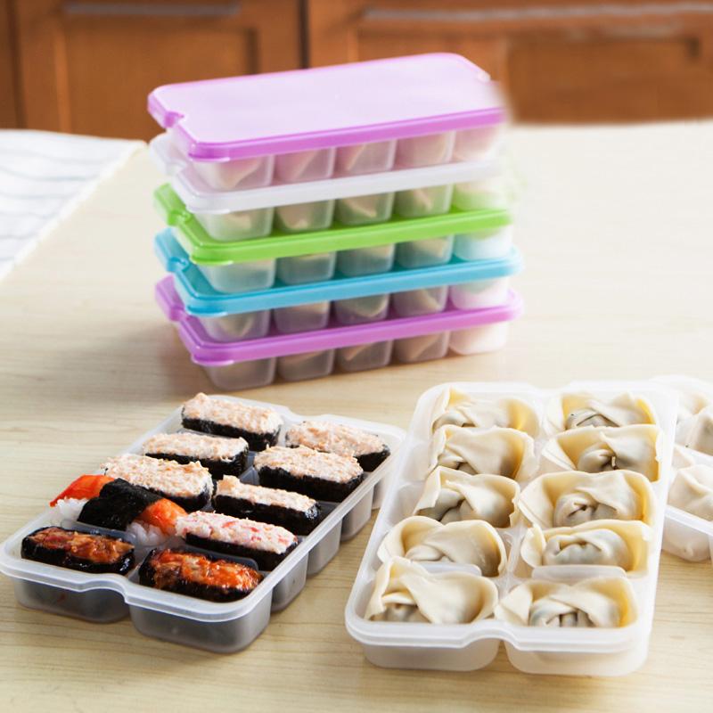 1PC10 Grids Dumplings Storage Box Reusable Plastic Food Storage Containers with Lids Food Storage Box Microwave Sushi Organizer(China (Mainland))