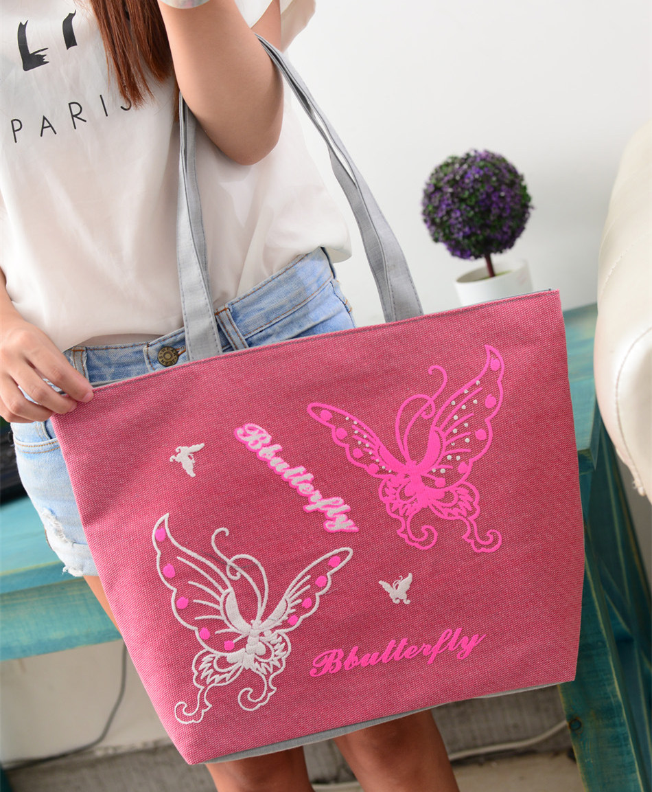 New Fashion Women Canvas Beach Bag Butterfly Shoulder Shopping Bag Office Lunch 5 Colors Bag bolso de las mujeres Sac A Main(China (Mainland))