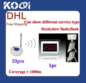 DHL FREEshipping ; Tabletop service bell , Waiter calling system , LED display wireless table , Wireless nurse calling system