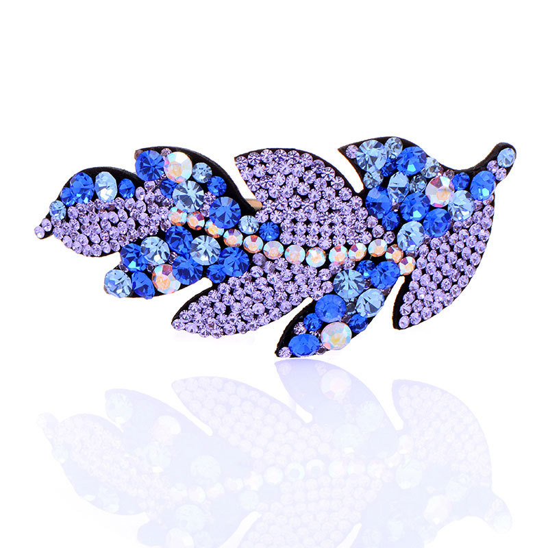 High Quality New Leaf Style 2015 Trendy Crystal Hair Accessories Bows Silk Hair Clip For Women(China (Mainland))