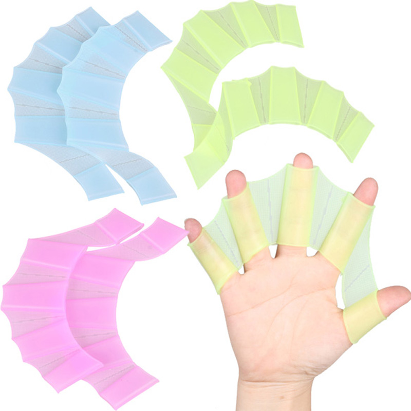 Silicone Swim Gear Fins Hand Web Flippers Silicone Training 1 Pair Gloves Women Men Kids webbed gloves for swimming(China (Mainland))