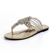 Genuine Leather Flats Flip Flops Cartoon Woven Women Crystal Sandals Woman Summer Rhinestones Sandals Plus Size 33-43 SXQ0508(China (Mainland))