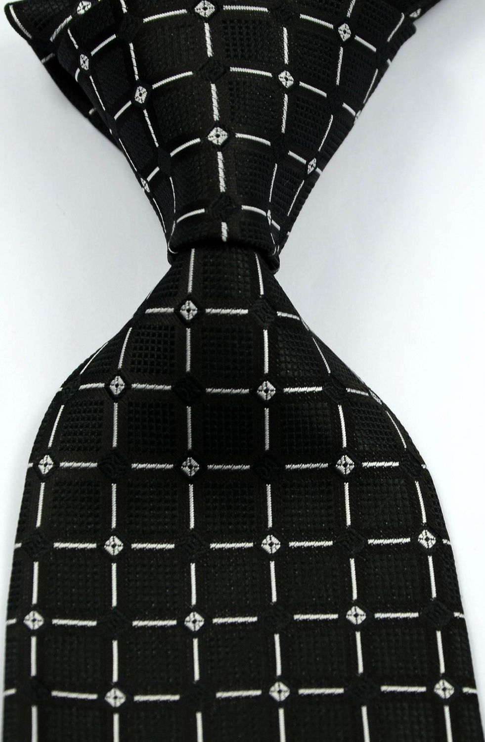 Classic Checks Striped Black JACQUARD WOVEN Silk Men's Tie Necktie #138 - wei669 store