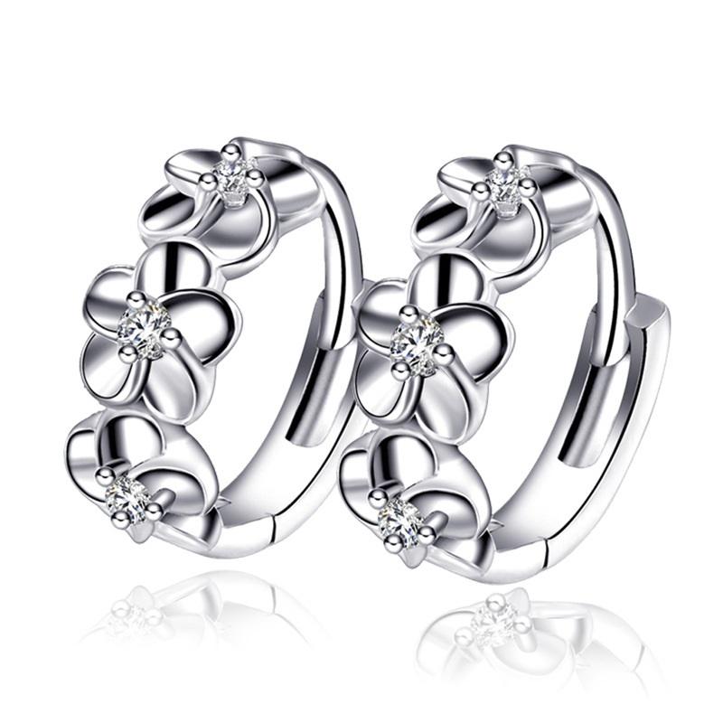 Woman earrings fashion jewelry 925 silver plum flower hoops small earrings female classic hoop earrings for women(China (Mainland))