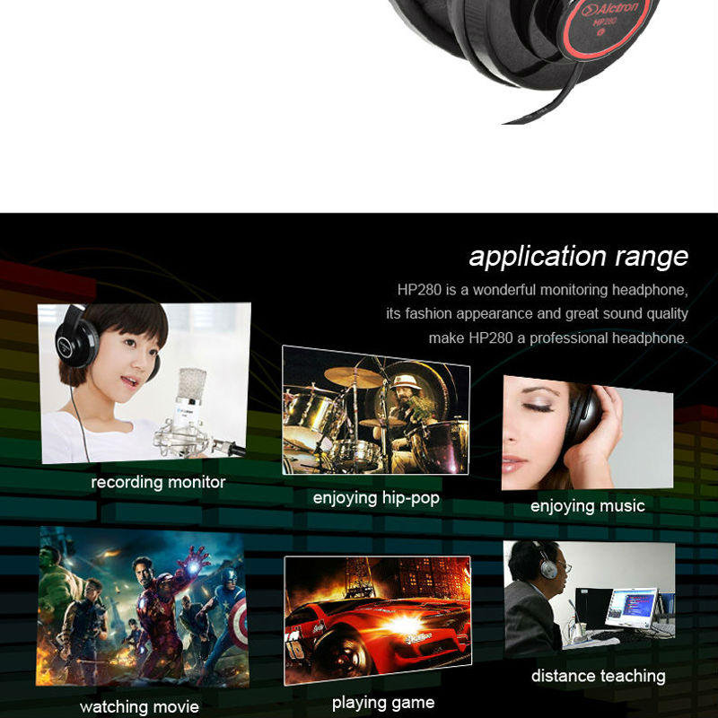 Alctron HP280 Professional Monitor Headphone dj studio headphone Hifi Stereo Music Earphone portable and fashionable
