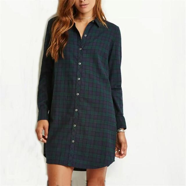 Женщин клетчатое сорочечные плед длинные блузки винтаж turn down воротник рубашки ...