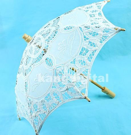 H120 - - White Lace Parasol Umbrella Bridal Wedding Umbrella for Decoration(China (Mainland))