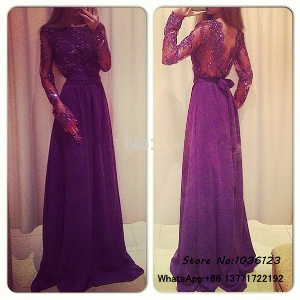 Vestidos de fiesta Floor Length Red Purple Prom Dresses 2015 Long Elegant Long Sleeve Appliques Sexy