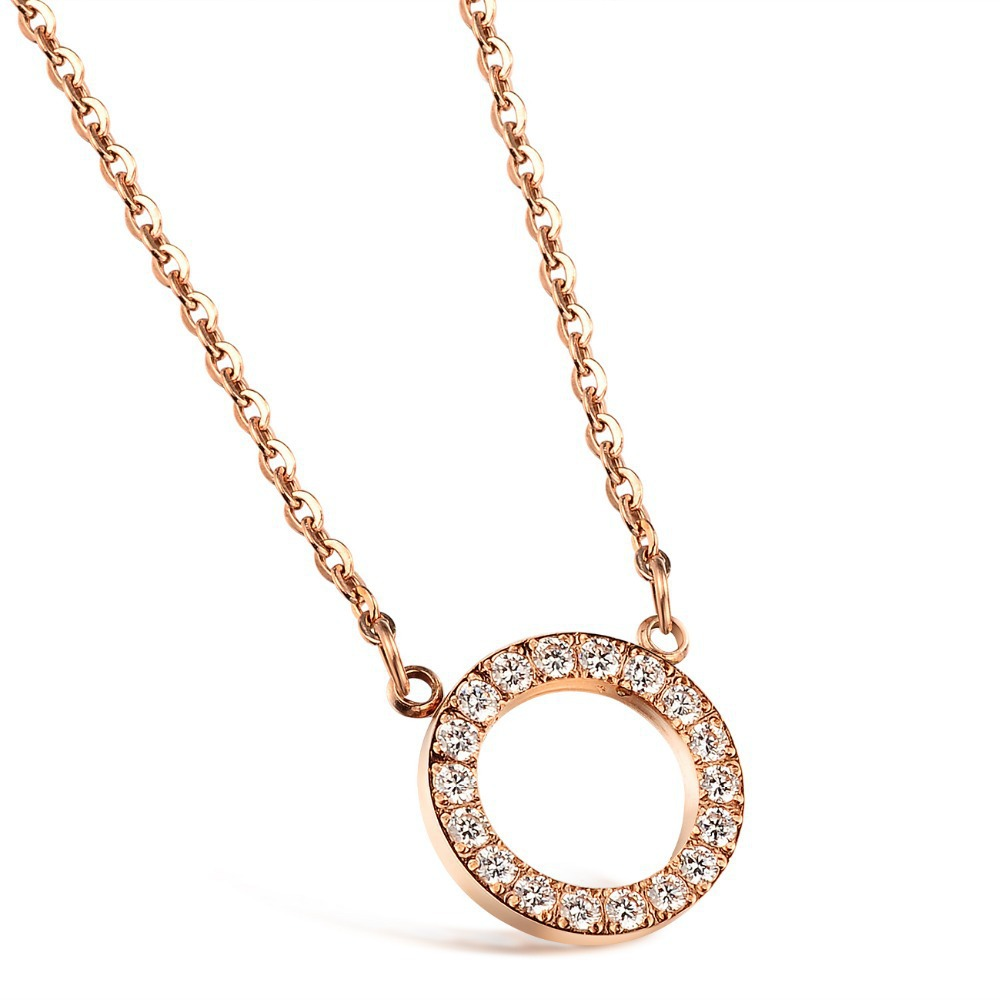 "Fashion Simple Style AAA CZ Diamond Full Crystal Circle ""LOVE"" Necklace stainless steel Rose Gold Plated necklace(China (Mainland))"