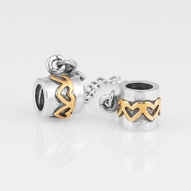 Серебро и 14 К позолоченные любовь сердца безопасности аутентичные стерлингового серебра 925 SHEALIA ювелирные изделия подходит бренд DIY браслеты SF003-N
