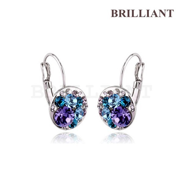 BEH0146 Charm Blue & Purple Crystal 18K White Gold Plated Drop Earrings Jewelry Women made Austria Crystals - Brilliant store