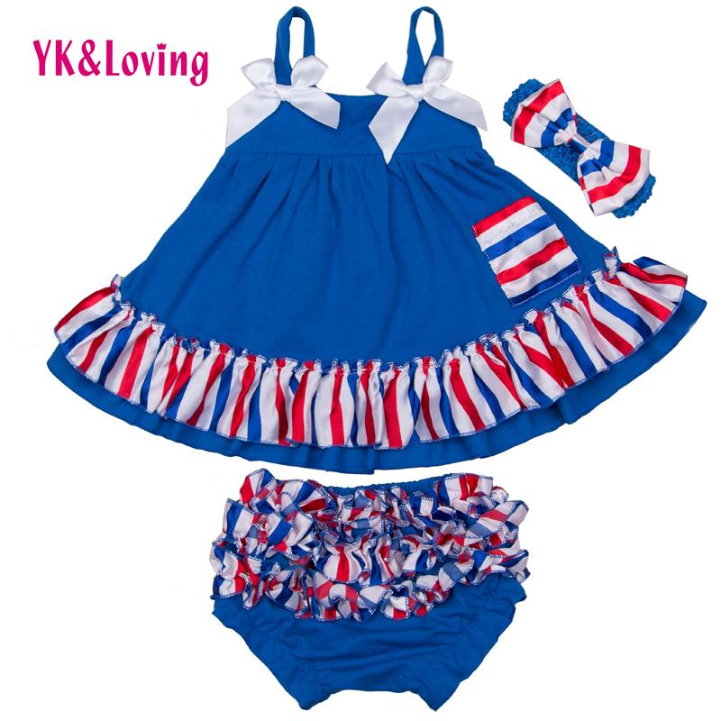 Baby Girl Ruffle Bloomer Sling Bat Shirt + Ruffle PP shorts 3Pcs Sets Infant Swing Top Bebe clothing for US National Day clothes(China (Mainland))