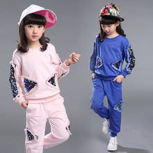 Buy Girls Clothing Sets 2017 Spring Autumn Children Tracksuit Sequined Long Sleeve Sweatshirt + Pants Kids 2 Pieces Girls Sport Suit for $19.99 in AliExpress store