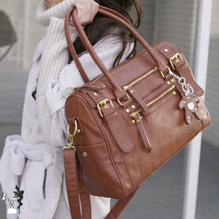 FLYING International Bags! 2015 brand Fashion women's leather handbag vintage bags with bear tassel women shoulder bag FIB-158