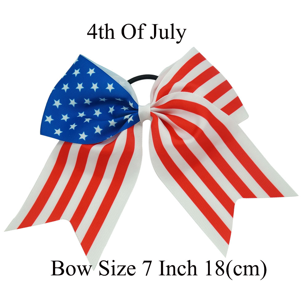 30 Pcs/Lot High Qulaity New Fashion 4th Of July Ribbon Cheer Bow For Children Girls Cute DIY Elastic Hair Band Hair Accessories(China (Mainland))