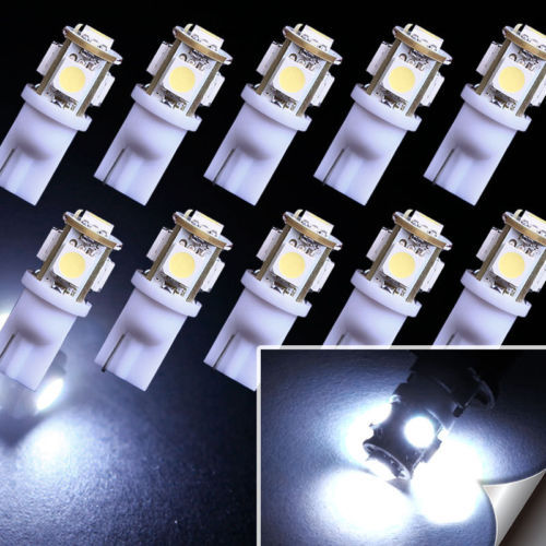 Free Shipping LED Car 10pcs 7000K Cool White Car led Light T10 W5W 5050 Wedge 5-SMD bulbs Interior / External Parking Light -C(China (Mainland))
